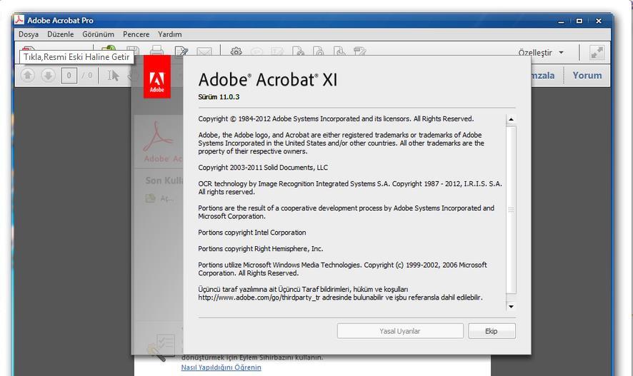 Adobe Acrobat XI Pro 11.0.07 Sürüm